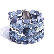 AT.BCT6 bracelete madreperolas, pedra jaspe esponja, cristais i e metais banhados a prata e paládio
