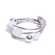 EPP.3.B.PR (branca) Puls bracelete pedras Ágata e metais banhados a prata