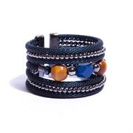 M.BCT11.A Bracelete malha, pedra Agata,azul,  cristais, madeira e metais grafite