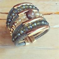 BCT.X125 Bracelete pedra Unakite, pedra Quartzo Rutilo, cristais e metais banhados a ouro