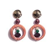TR.B2 - Brincos pedras Zoisita vermelha, Madrepe´rolas, quartzo verde e cristais com metais banhados a ouro