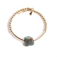 TR.P3 - Pulseira pedras Quartzo Rutilo e pedra Jade Esmeralda ru´stica com metais banhados a ouro