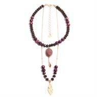 TR.C6 - Colar curto/me´dio, pedra Zionite vermelha, cristais, Pedra jaspe Rodonita e metais banhados a ouro