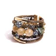 TR.BCT11 - Bracelete pedras Jade esmeralda, Quartzo rutilo, Cristais, pedra Labradorita em cascalho e metas banhados a ouro