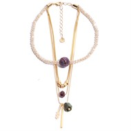 TR.C12 - Colar cristais, pedra agata briollet, pedra jade esmeralda rustica, pedra Zionita vermelha e metais banhados a ouro