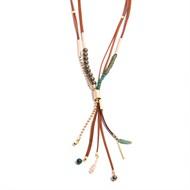 TR.C14 - Colar luxo longo boho chic perolas shell, pedras quartzo verde, cristais, metais banhados a ouro e couro