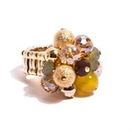 TR.A3 - anel pedras agata amarela, howlita, cristais e metais banhados a ouro