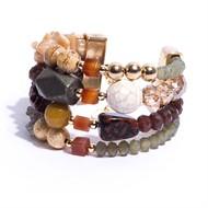 TR.BCT1 Bracelete pedras Jade mostarda, Howlita, Labradorita, Agata, hematita ferro rustica, Jaspe Madeira; cristais e metais banhados a ouro