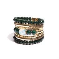 BCT.X118.1 Bracelete pedra Malaquita, Opala, cristais e metais banhados a ouro.