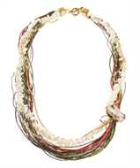LR.C18 Colar fibras naturais, cascalho de madrepérola e pedra natural Jasper Cinza.