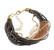 LR.P01 Puls fibras naturais, Pedra natural Quartzo Rutilo e metais folheados a ouro