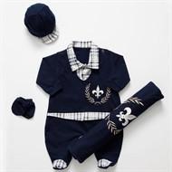 Saída para Maternidade Luxo Brasão Marinho