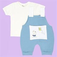 Jardineira + Camisa Azul c/ Branco