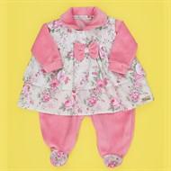 Conjunto Inverno Macacão Plush Rosa c/ Vestido