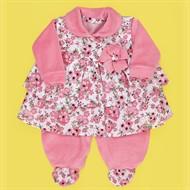 Conjunto Inverno Macacão Plush Rosa c/ Vestido Floral