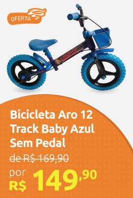 Bicicleta Aro 12 Brinquedo Track Baby Sem Pedal Azul