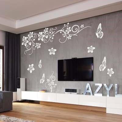 Adesivo papel de parede vinilico floral borboletas branco - Vinilico para paredes ...