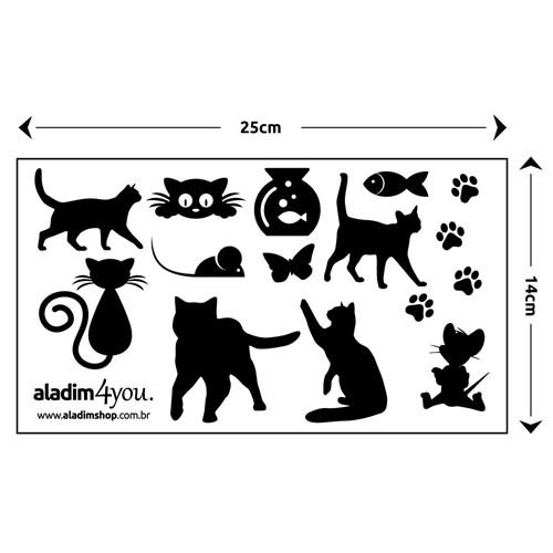 Adesivo para Espelho de Tomada Interruptor Gatinhos - 5 Pçs