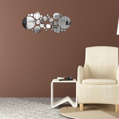 Espelho de Parede Redondo Decorativo - Kit com 28 Peças