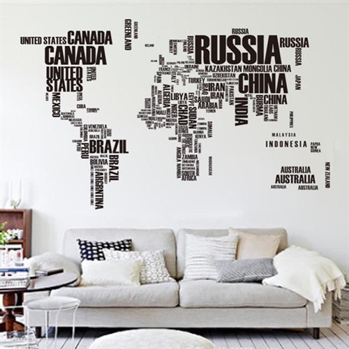 Artesanato Feltro Materiais ~ Adesivo De Parede Mapa Mundi 190x116cm com Letras