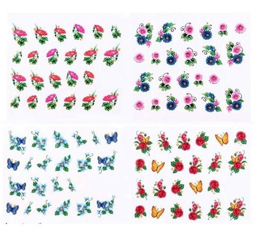 Adesivo de Unha Decorativo Flores - Kit com 5 cartelas