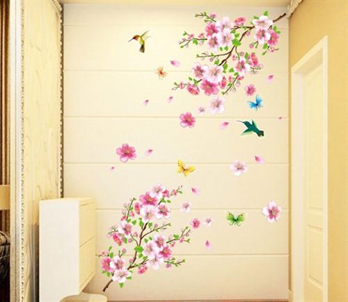Adesivo de Parede Floral Rosa com Pássaros - Removível