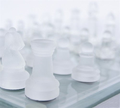 Jogo De Xadrez Vidro Transparente Fosco Luxo 20x20cm 32pcs