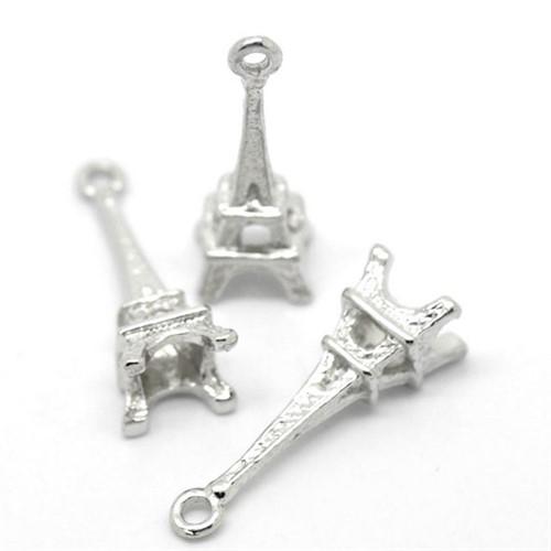 Pingentes de Prata 925 Pandora Torre Eiffel - Kit com 2 pçs