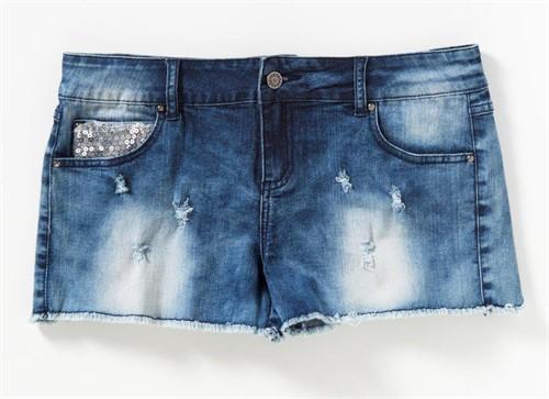 Shorts Jeans Feminino Denim Com Paetês Curto Desfiado Brilho