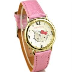 Relógio De Pulso Infantil Hello Kitty Rosa Pulseira Dourada