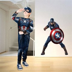 Kit Fantasia + Adesivo do Capitão América Avengers