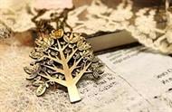 Colar Pingente de Árvore em Bronze Envelhecido - Vintage