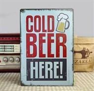 Painel Bar Vintage Decoração Cold Beer Here - Cerveja Gelada