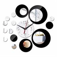 Relógio De Parede Digital Criativo com Espelhos - Preto