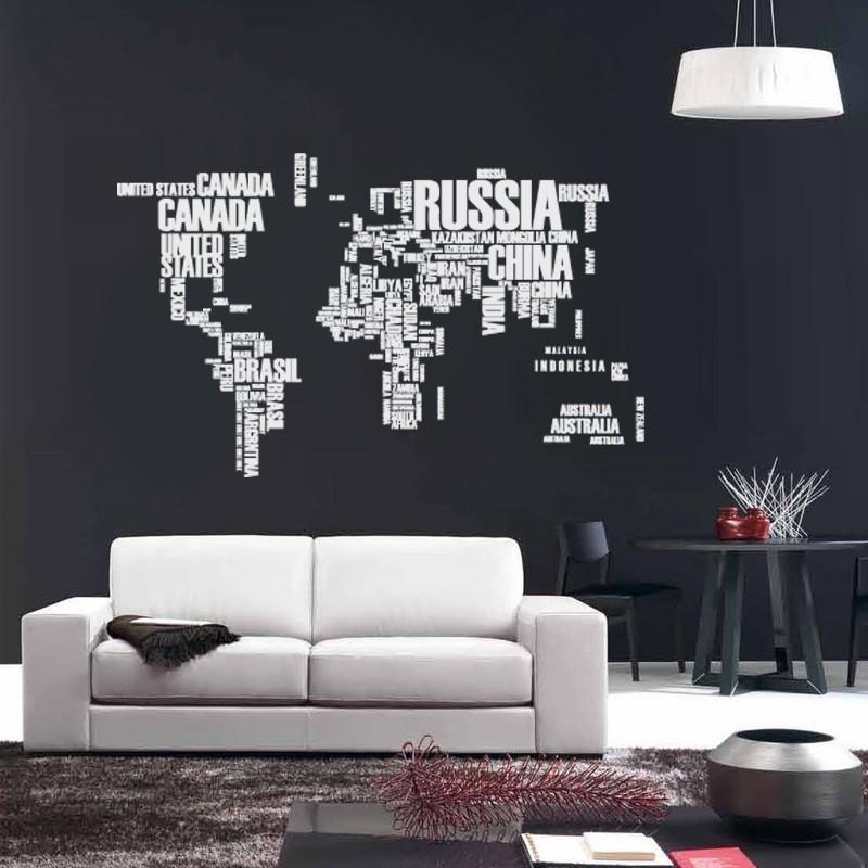 Artesanato Feltro Materiais ~ Adesivo De Parede Mapa Mundi 190x116cm Com Letras Branco