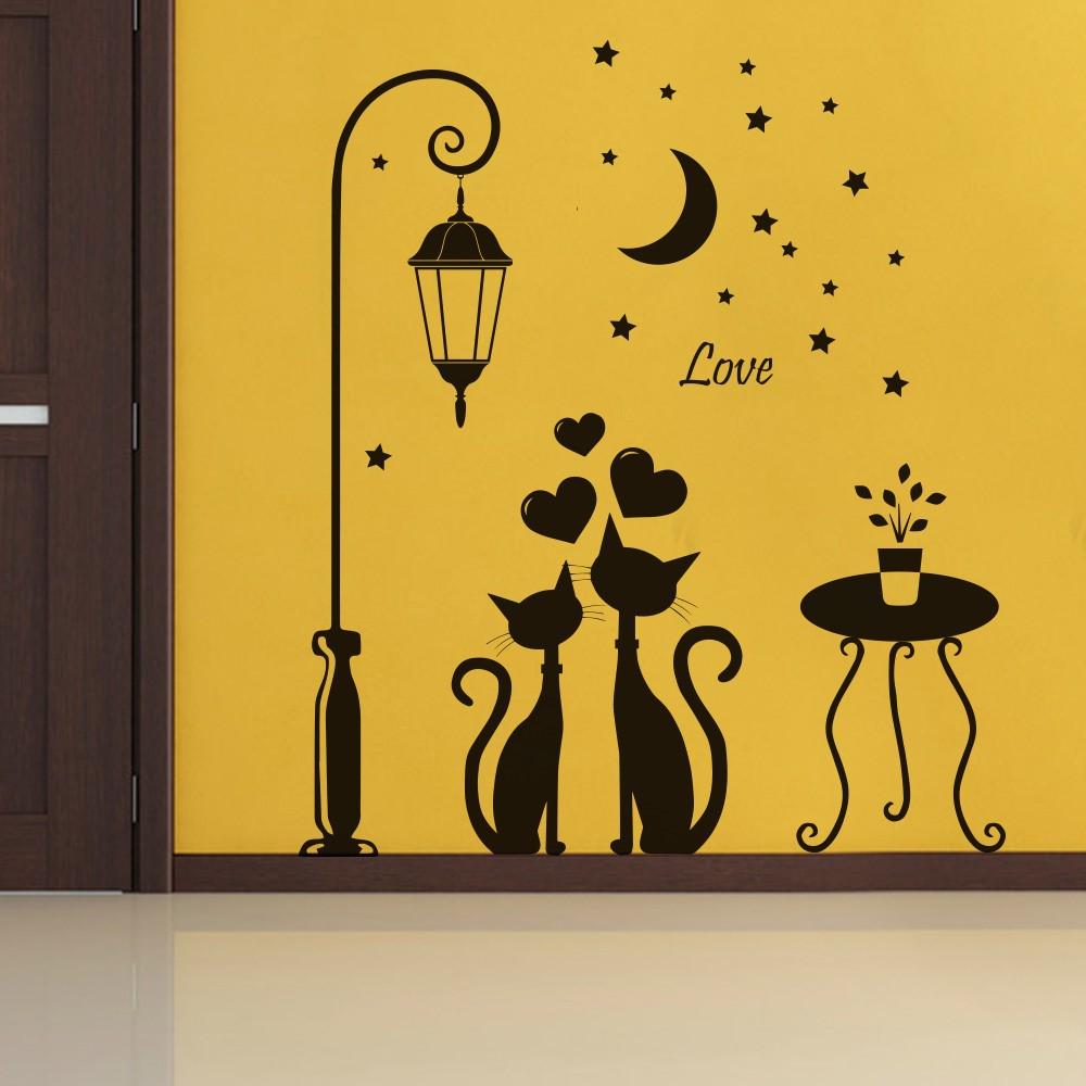 Adesivo Porta De Banheiro ~ Adesivo Papel De Parede Gatos Apaixonados