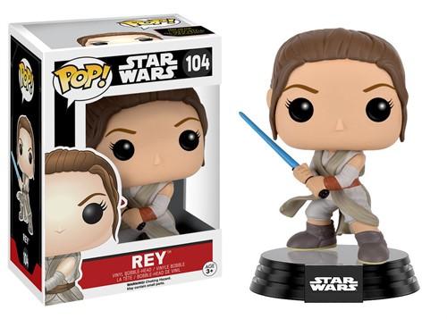 Rey com Lightsaber Star Wars - O Despertar da Força - Funko POP Bobble Head