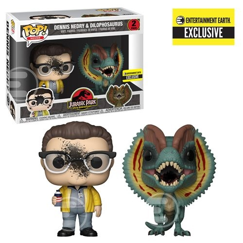 Dennis Nedry and Dilophosaurus Pack-2 Jurassic Park - Funko POP Entertainment Earth EXCLUSIVO