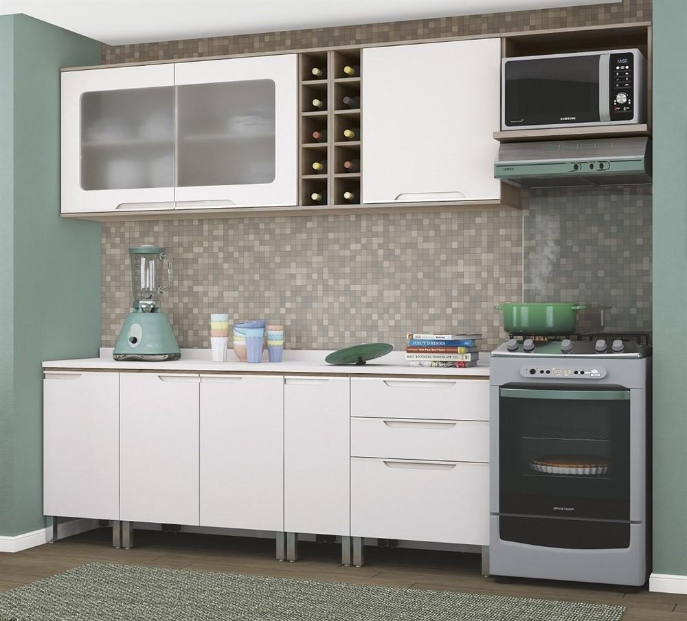 Cozinha Modulada 9 Pe As Solaris Carvalle Branco N2 Kappesberg