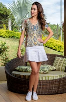 Blusa de Tricot Rendada com estampa (V15152)