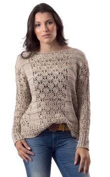 Blusa de tricô com ponto vazado (A1983)