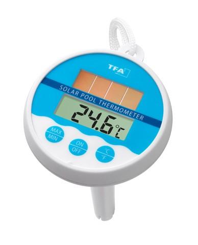 Termômetro Digital para Piscina com Painel Solar