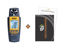 Termo-Higro-Anemômetro Digital Mod. AK-821 + Certificado de Calibração com Padrões Rastreáveis ao INMETRO / RBC