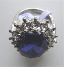 Anel prata e azul