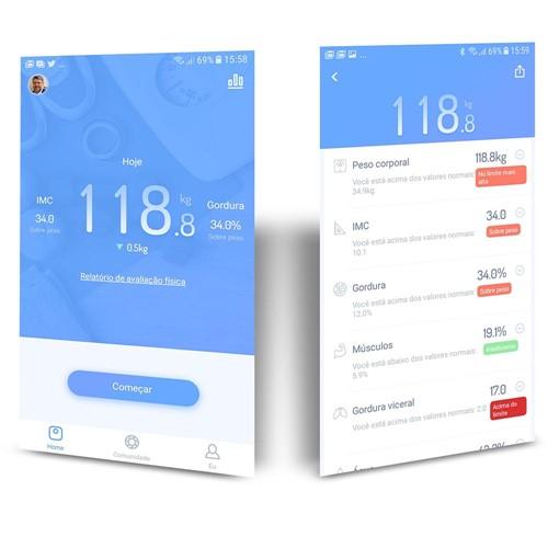 Bioimpedância Analisador de Composição Corporal com Aplicativo e Bluetooth