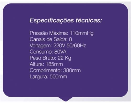 Drenapress - Pressoterapia sequencial de 8 canais c/ Carrinho- CECBRA