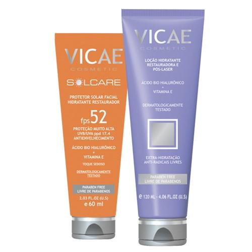Kit Vicae - Protetor Solar com Ácido Hialurônico + Loção Hidratante Pós-Laser com Ácido Bio Hialurônico e Vitamina E