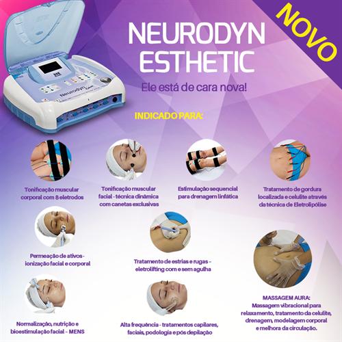 Neurodyn Esthetic - Massagem Aura, Corrente Aussie, Alta Frequência, Polarizada e Microcorrentes - Ibramed
