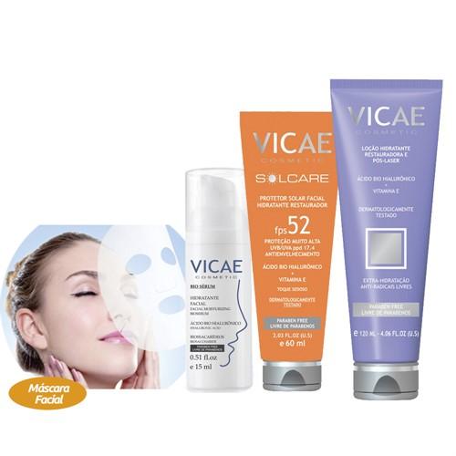 Combo Vicae - Protetor Solar + Loção Pós-laser + Bio Sérum Facial + Máscara Facial Reparadora