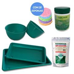 Kit Estética - Bandejas + Cubetas + Argila verde + Argila branca + Esponjas